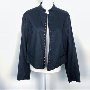 Ralph Lauren Black Linen Military Style Blazer 16